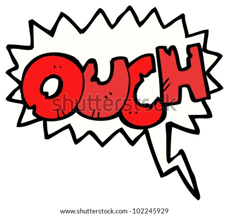 cartoon comic book ouch shout - stock photo