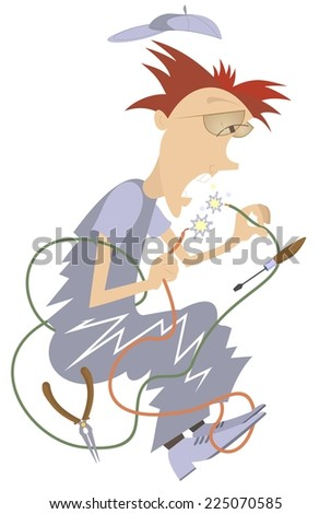 Cartoon comic electrician repairs wires and makes a short circuit - stock photo