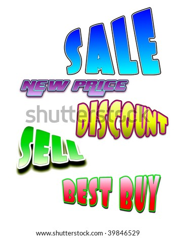 cartoon comic sale text isolated on white background - stock photo