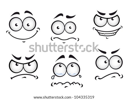 Cartoon comics faces set for humor or fun design, such logo. Vector version also available in gallery - stock photo