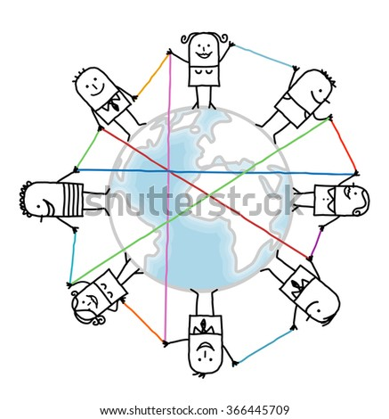 cartoon connected people on Earth - stock photo