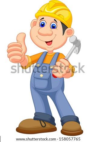 Cartoon Construction worker repairman - stock photo