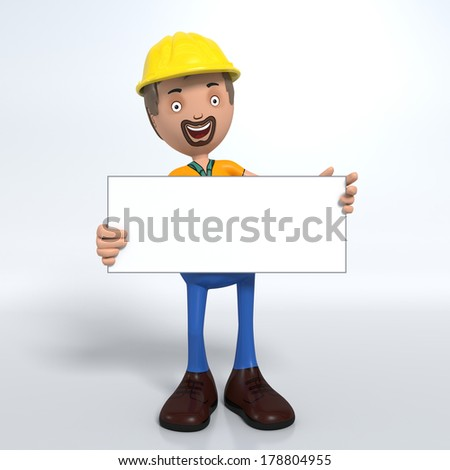 Cartoon construction worker with hard hat holding sign or placard - stock photo
