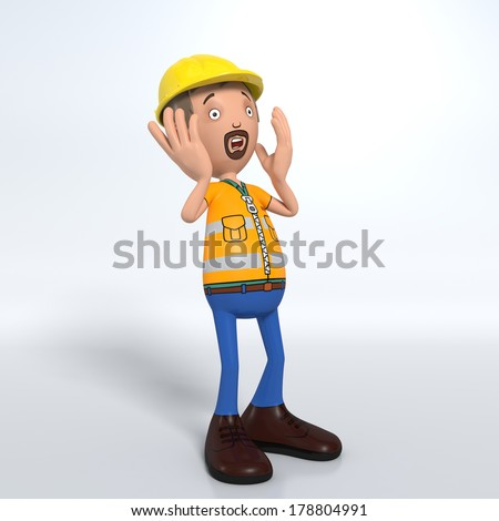 Cartoon construction worker with hard hat shocked, surprised and scared - stock photo