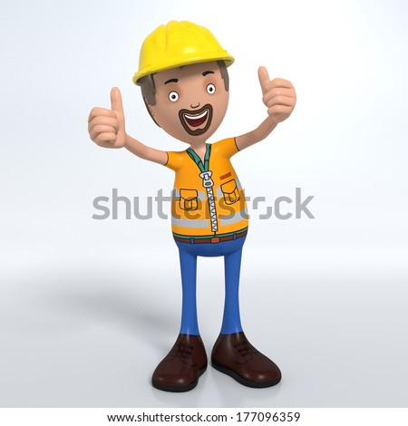 Cartoon construction worker with hard hat thumb up signal - stock photo