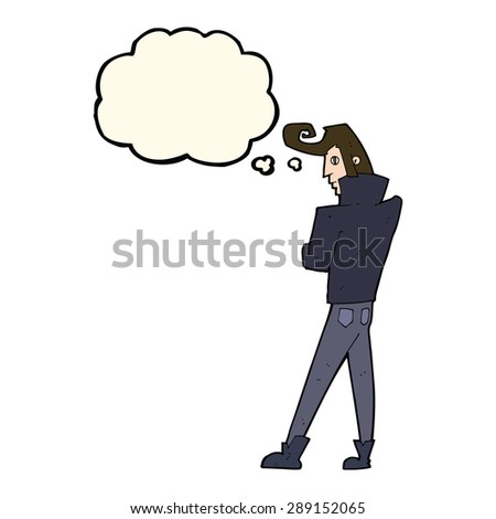 cartoon cool guy with thought bubble - stock photo