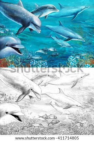 Cartoon coral reef with dolphins - illustration for the children - stock photo