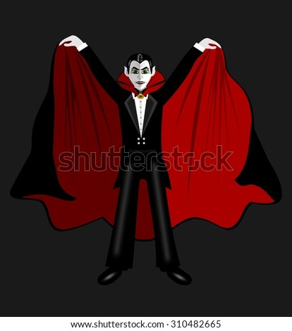 Cartoon Count Dracula in the mantle