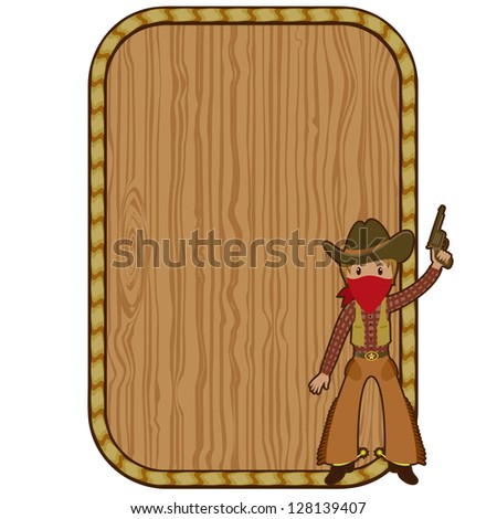 Cartoon Cowboy Near Wooden Blank Frame Stock Illustration 128139407 ...