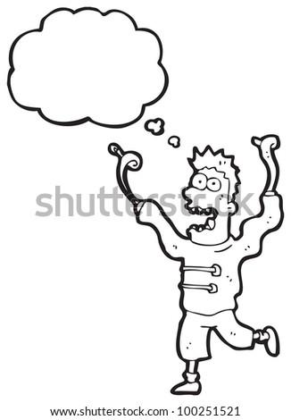 cartoon crazy madman - stock photo