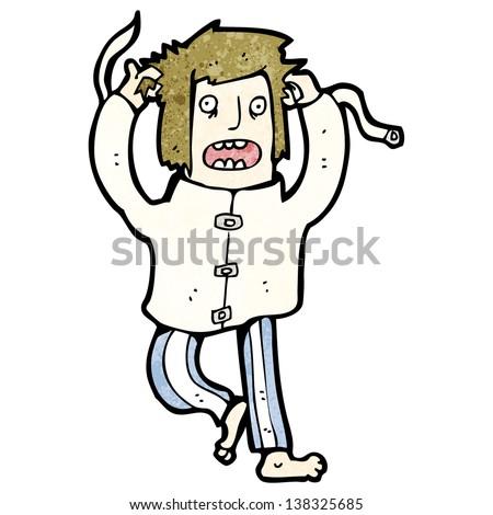 cartoon crazy man in straight jacket - stock photo