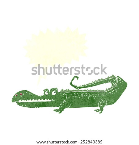 cartoon crocodile with speech bubble