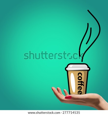 Cartoon cup of coffee on woman hand - stock photo