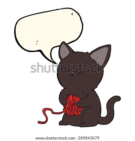 cartoon cute black cat playing with ball of yarn with speech bubble - stock photo