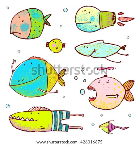 Cartoon Cute Fish Drawing Collection. Funny humor cartoon hand drawn brightly colored fish set. Pencil style. EPS10 vector has no background color. - stock photo