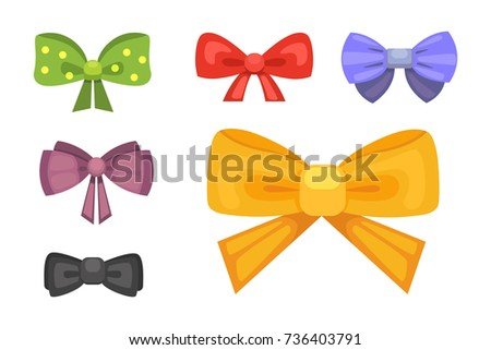 Cartoon gift bow ribbon vector set stock vector 534184120 cartoon cute gift bows with ribbons color butterfly tie negle Gallery