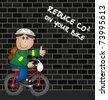 Cartoon cyclist and reduce CO2 emissions message - stock photo