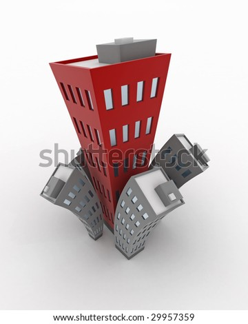 Cartoon 3d Building growth, isolated - stock photo