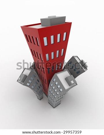 Cartoon 3d Building growth, isolated - stock photo