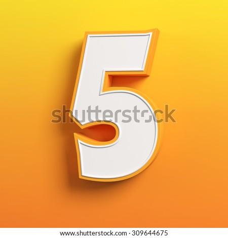 cartoon 3d font letter 5 - stock photo