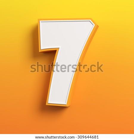 cartoon 3d font letter 7 - stock photo