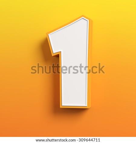 cartoon 3d font letter 1 - stock photo