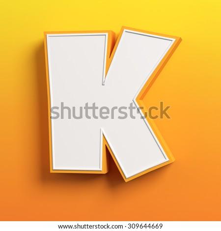 cartoon 3d font letter K - stock photo
