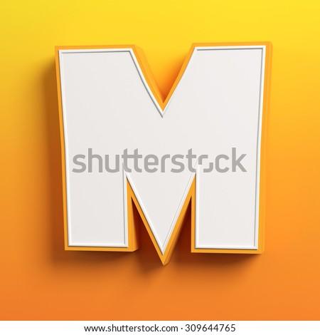 cartoon 3d font letter M - stock photo