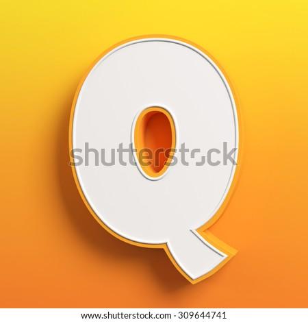 cartoon 3d font letter Q - stock photo