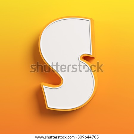 cartoon 3d font letter S - stock photo