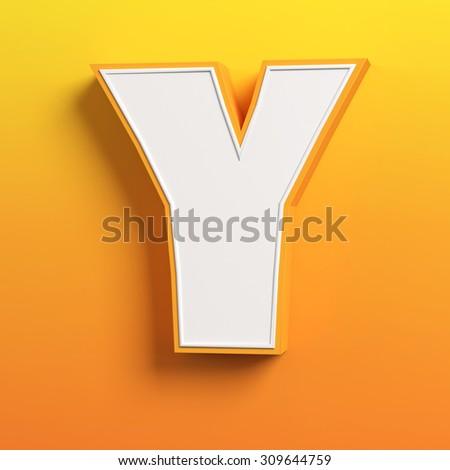 cartoon 3d font letter Y - stock photo