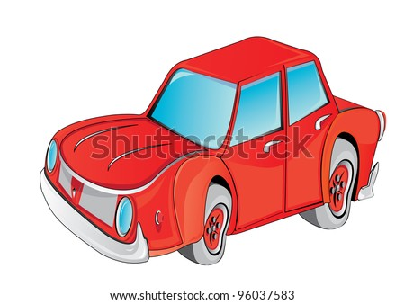 cartoon 3d red retro toy car on white background. - stock photo