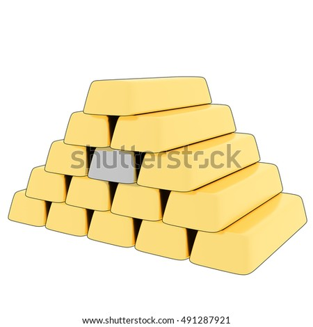 Cartoon, 3D rendering of gold bars with one silver bar.