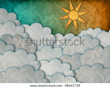 Cartoon decorations of clouds and Sun