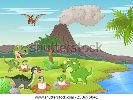 Cartoon dinosaur nesting ground - stock photo
