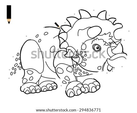 Cartoon Dinosaur Triceratops Coloring Page Illustration Stock ...