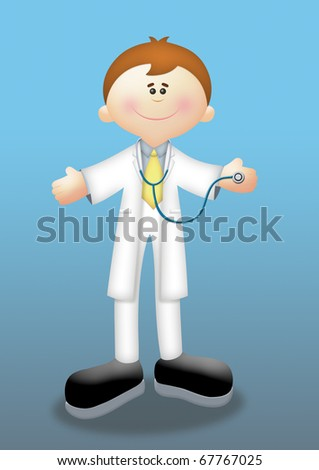 Cartoon doctor holding a stethoscope. - stock photo