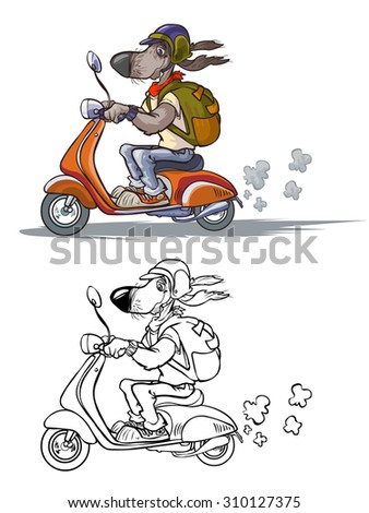 Cartoon Dog on Scooter. Raster version.