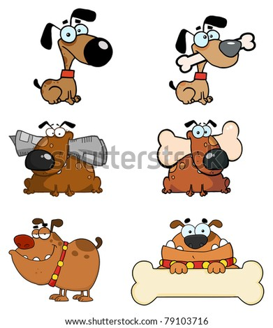 Cartoon Dogs Raster Collection - stock photo