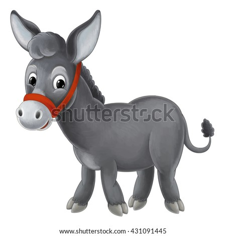 Cartoon donkey standing and watching - cute animal - isolated - illustration for children - stock photo