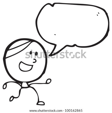 cartoon doodle man with speech bubble