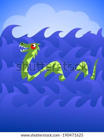 Cartoon dragon or sea monster in the ocean - stock photo