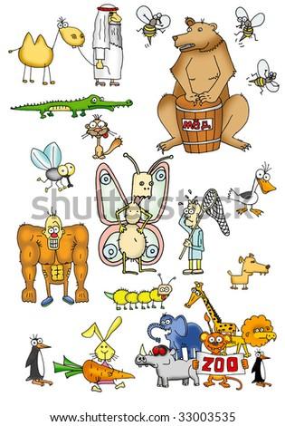 cartoon draw of wild animals - stock photo