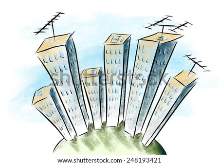Cartoon drawing tower building with antennas, view from the top down - stock photo