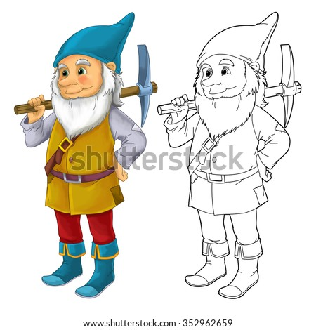 Cartoon dwarf isolated - with additional coloring page - illustration for the children - stock photo