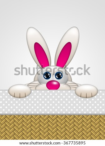 cartoon easter bunny in basket looking up with place for text