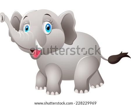 Cartoon elephant - stock photo