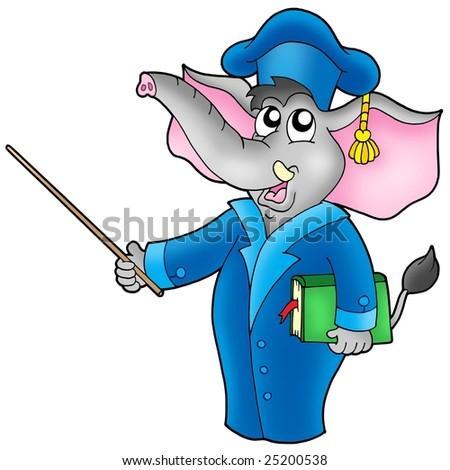 Cartoon elephant teacher - color illustration. - stock photo