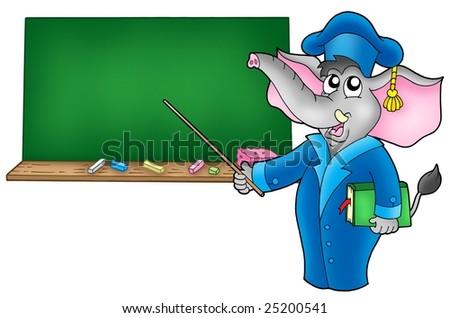 Cartoon elephant teacher with blackboard - color illustration. - stock photo