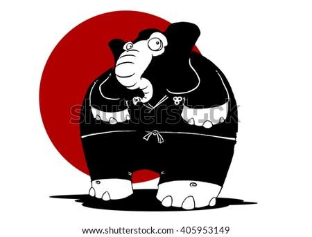Cartoon elephant wearing ninja outfit - stock photo